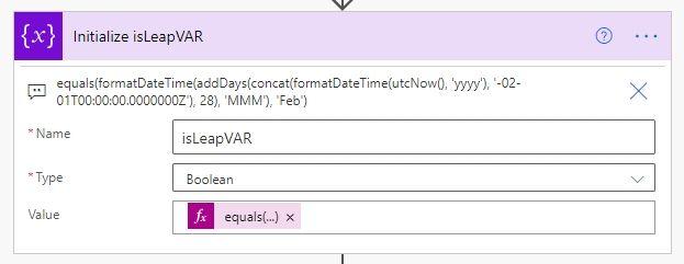 equals(formatDateTime(addDays(concat(formatDateTime(utcNow(), 'yyyy'), '-02-01T00:00:00.0000000Z'), 28), 'MMM'), 'Feb')