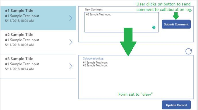 Visual of Intended Comment Log Functionality
