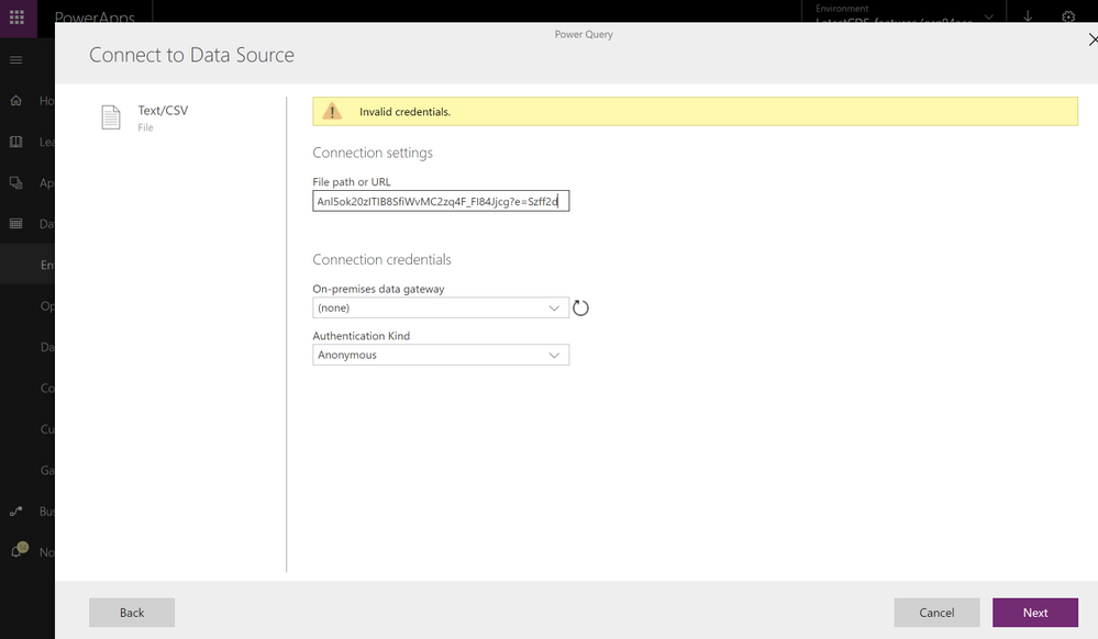 Capture Invalid credentials issues importing data in PowerApps PowerQuery.PNG