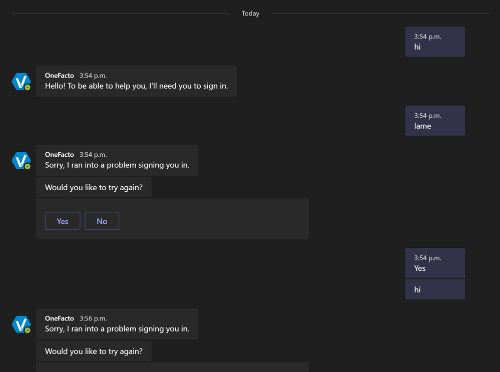 Same bot, but published conversations don't show the login button / won't login.