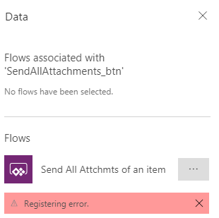 Registering Error when trying to add a MS FLOW