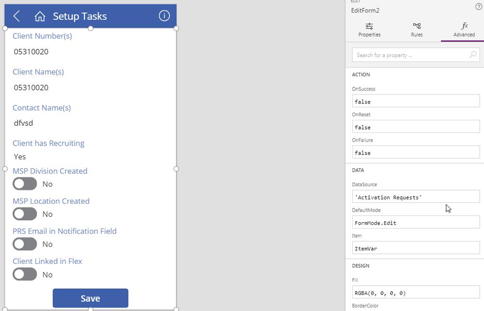 Setup Tasks (custom form screen)