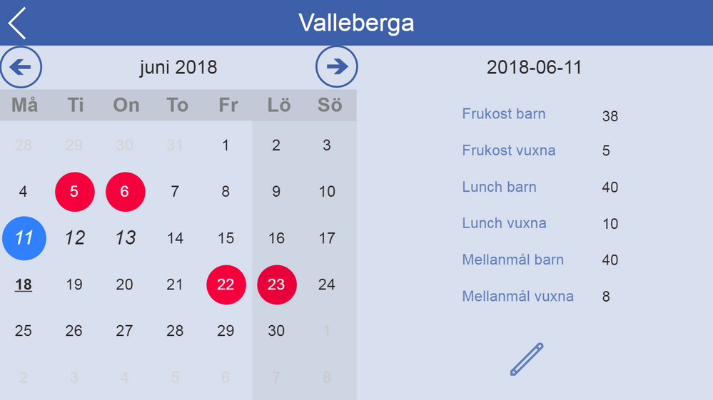 Calendar app built with the blog post at a great start