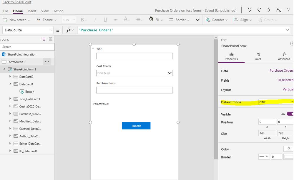 "Designer with SharePointForm1 DefaultMode = ""New"""