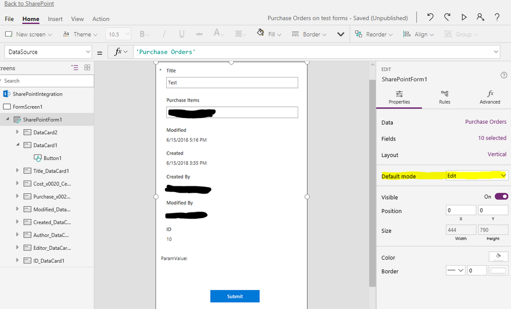 "Designer with SharePointForm1 DefaultMode = ""Edit"""