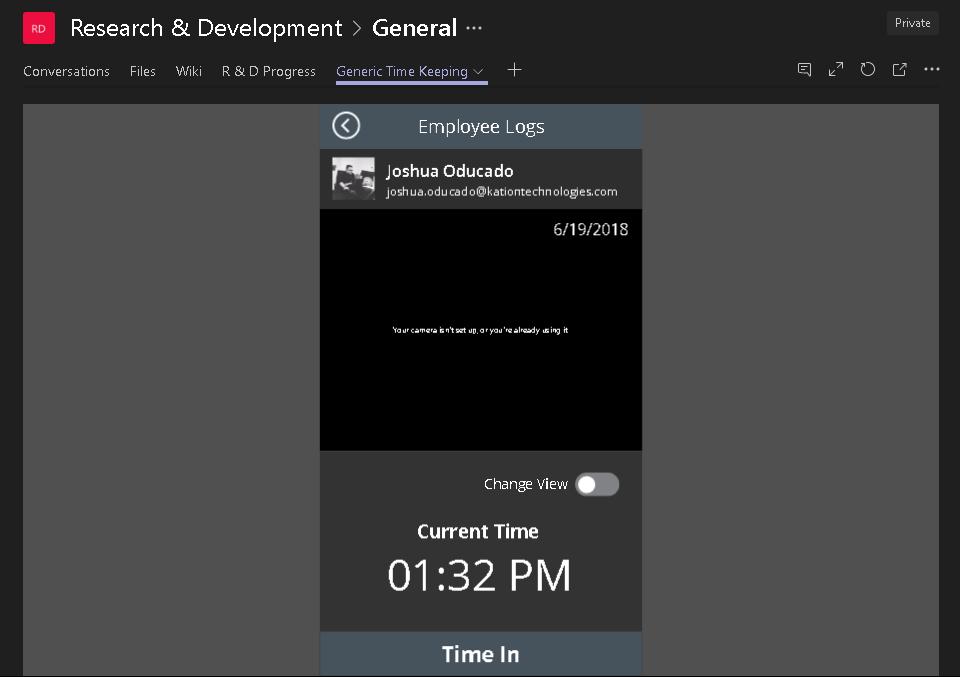 Application embedded on a Teams tab
