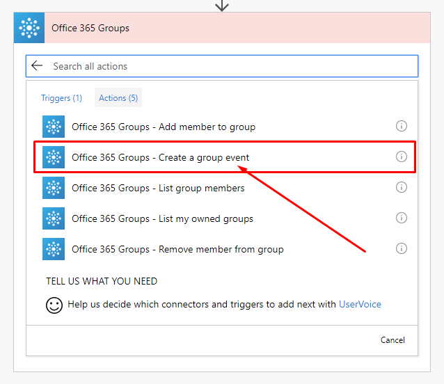 Flow Office 365 Groups Create event.png