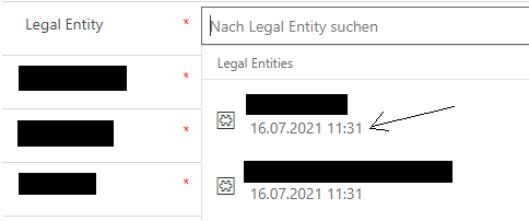 date is shown alongside the selectable legal entity