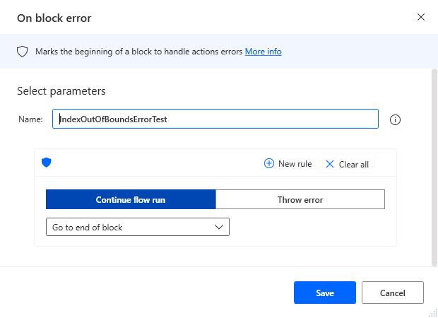 """On Error Block"" configuration"