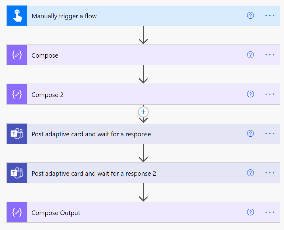 test flow with two adaptive cards waiting for a response