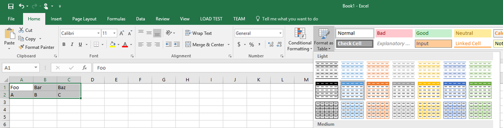 Creating a table in Excel