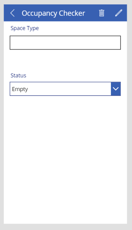 User interface of a screen in PowerApps (for mobile phone)
