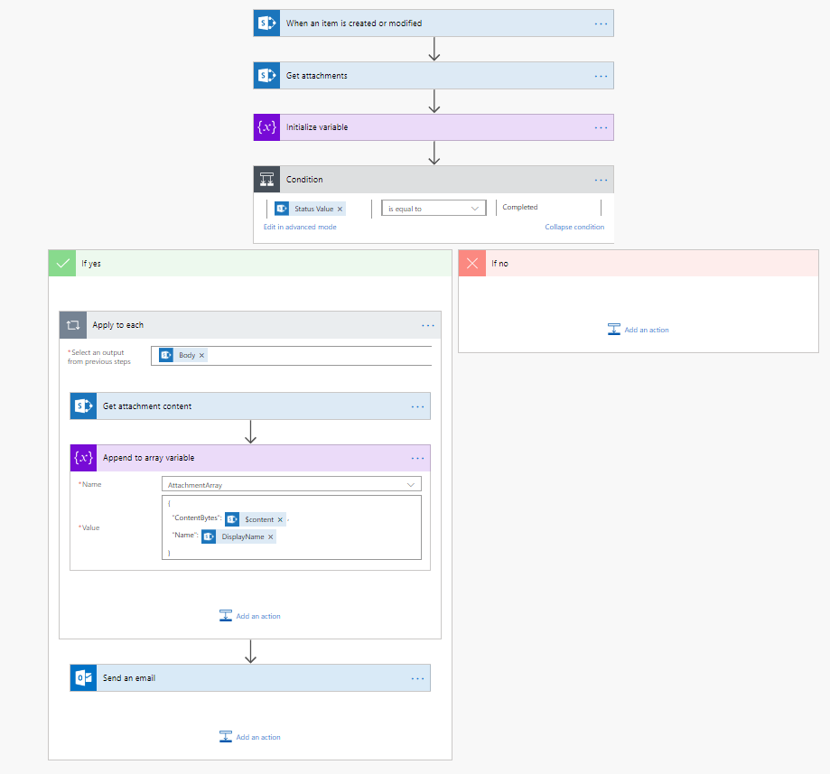 """Flow to Trigger an email with the attachments on that """"job"""" in the SP table"""