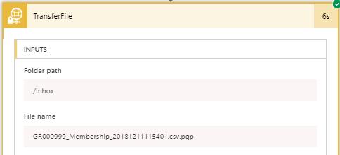 Successful transfer to a sub-folder in the site