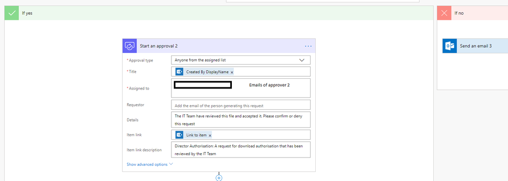 Step 2 in flow: If yes, send to approver 2