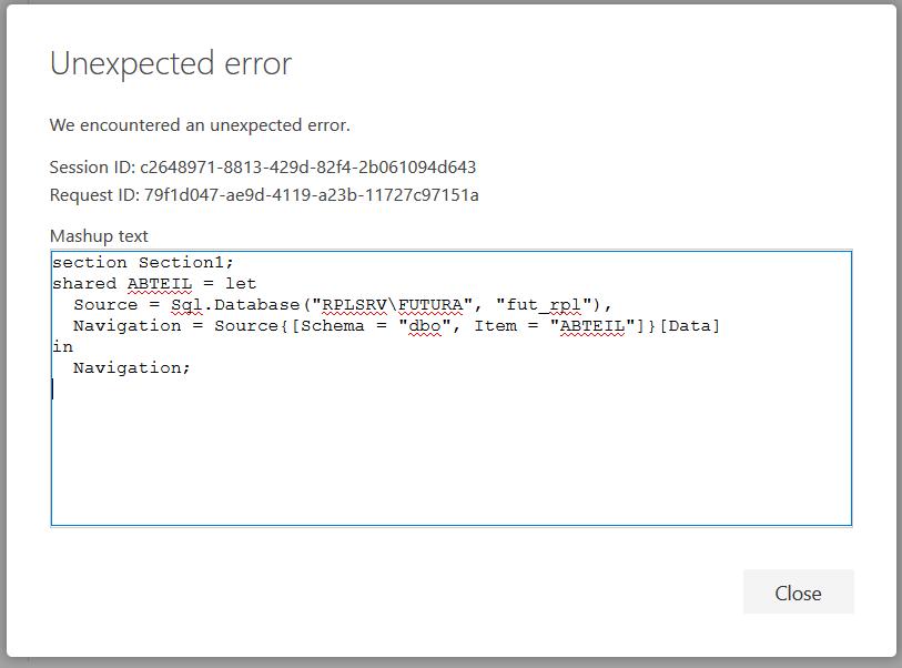 Unexpected Error