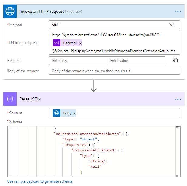 HTTP Request for User Extension Attributes