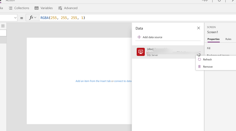 Refresh SQL in PowerApps