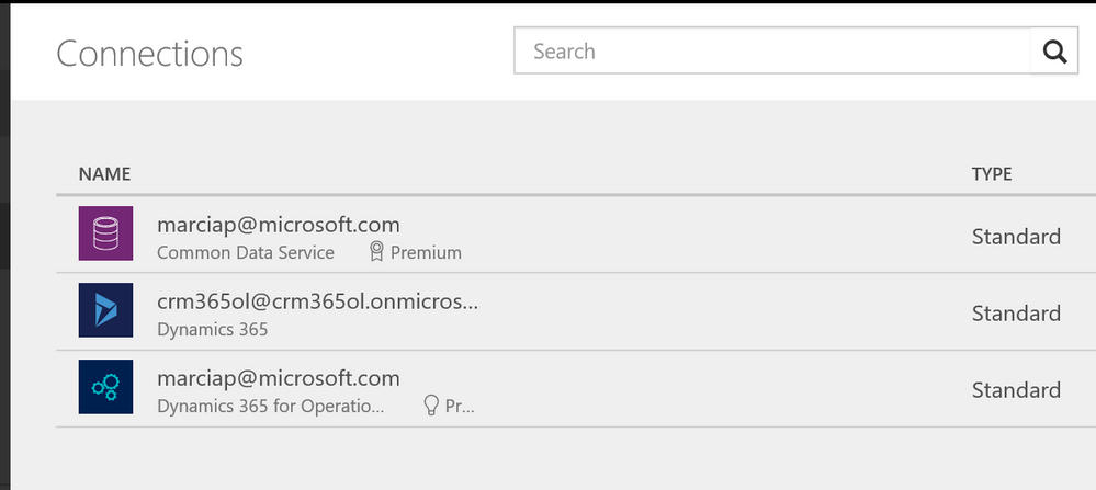 Connections in powerapps