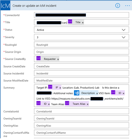 Create or update an IcM incident