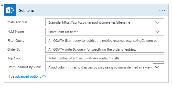 SharePoint Get Items Advanced Options