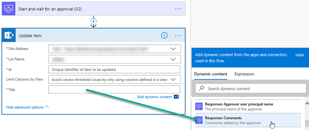 Response Comments added to SharePoint Update Item