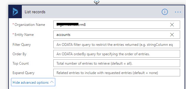 Dynamics 365 CE Action to retrieve Account records