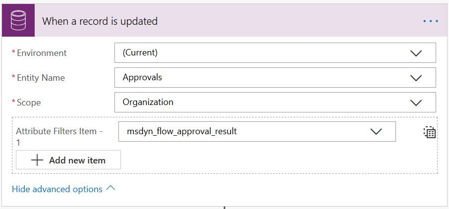 Flow 2: Trigger the flow when the result field of an approval record is updated