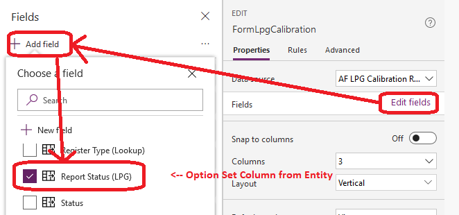 Adding Option Set column to the form using built-in form editor