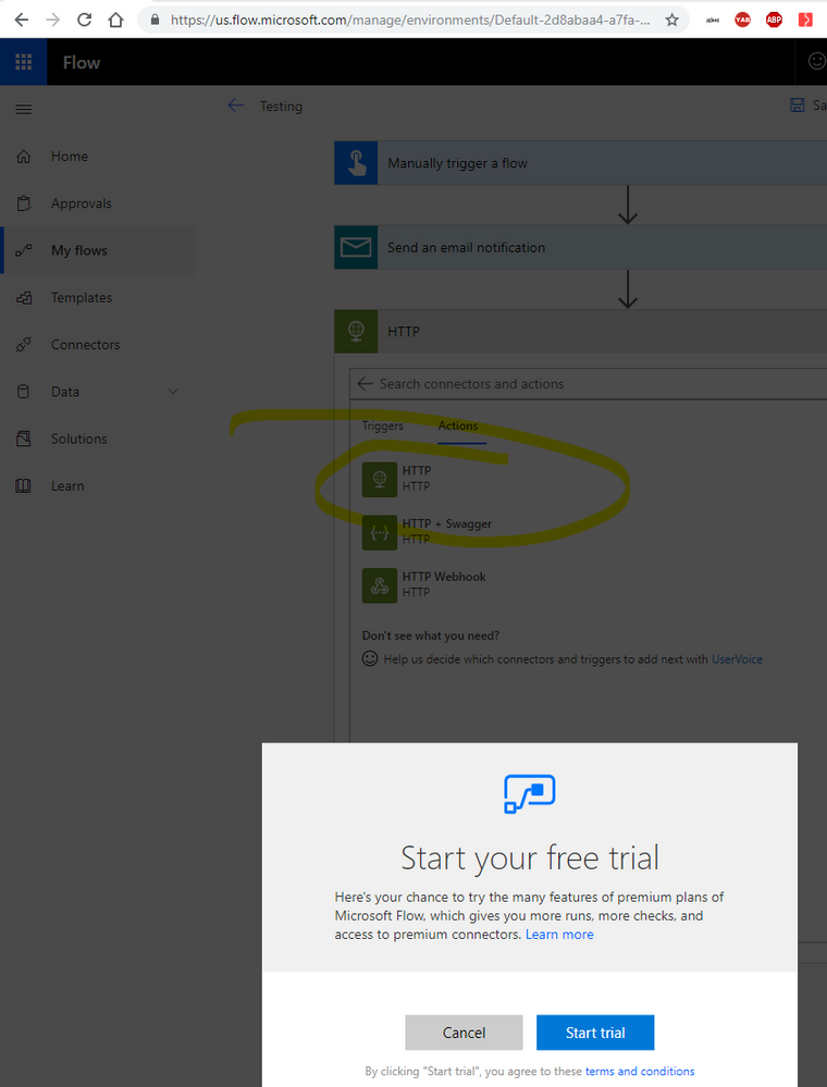 HTTP premium connector message - Start your free trial (MS bait & switch).png