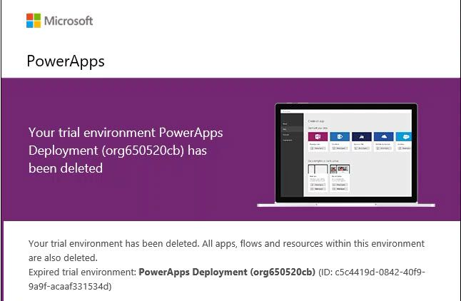 PowerApps Deleted Environment.jpg