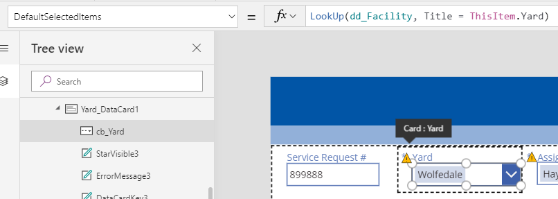 Just added a space after LookUp(dd_Facility, Title = ThisItem.Yard)  and now the yard shows up, I guess the change prompted a refresh of the default selected item