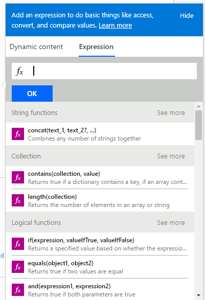 expected expression wizard