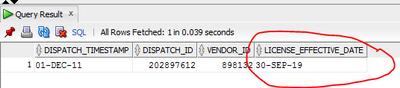 SQL Developer date results