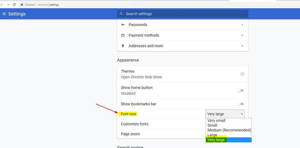 Chrome Font Size setting
