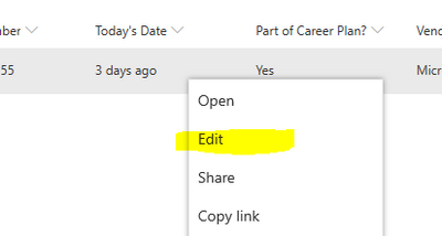 Right clicking on sharepoint list item