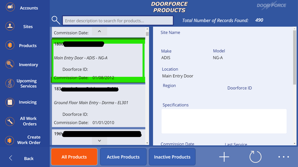 The Product List view, w/gallery and form view of basic details for selected record (selection is highlighted)