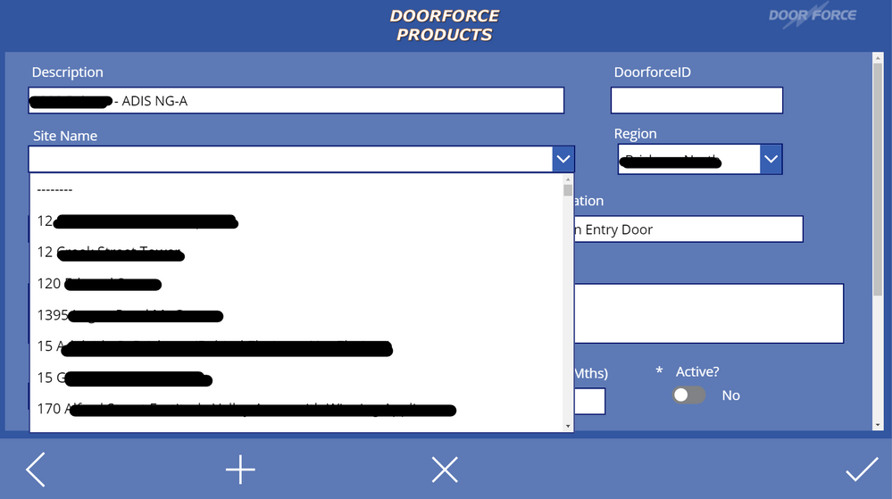 Edit screen for the selected record. You can see that Site Name's are visible in the dropdown control (via Site ID lookup in related table, dbo.'Sites'). The Region dropdown box is the same.