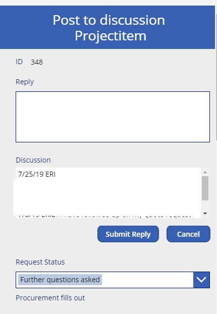Discussion field results. Blocked text for privacy / security