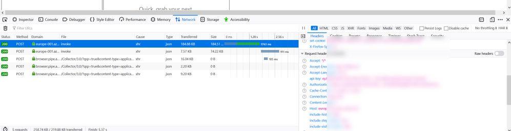 PowerApps Browser Dev Tools Response