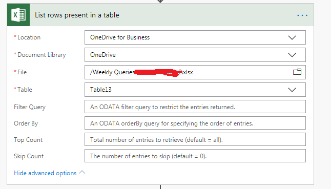 list rows present in a table