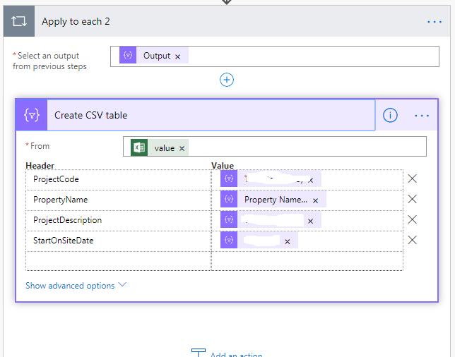 create a csv table