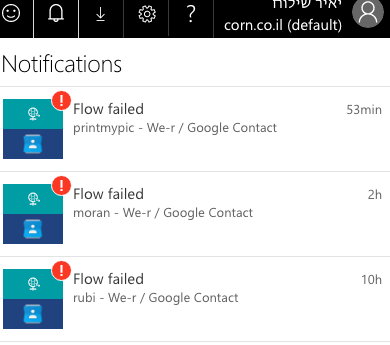 all the flows with google contact failed