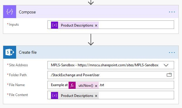 Finally, I composed the variable just for testing (you can obmit this action), and use Create File to make a file in a SharePoint library which contains all of the selected product descriptions