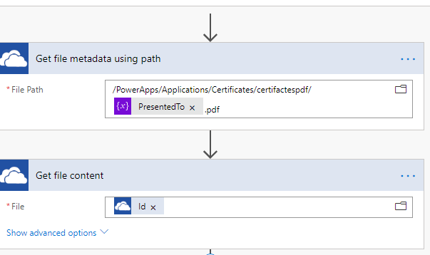 Get File metadata and then content