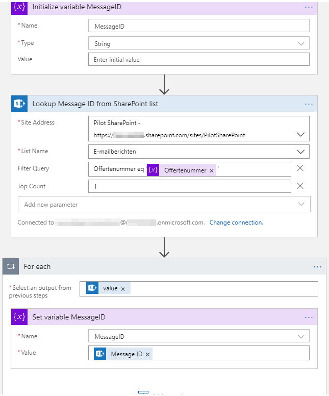 I tell flow to get SharePoint items, filter based on the invoice number, and retrieve the Message ID.