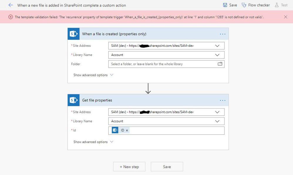 Test Flow with error message