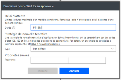 Wait for approval parameters