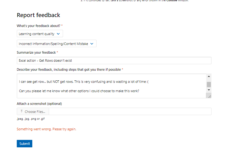 Report feedback doesn't work [ to report an issue with flow learning ].PNG
