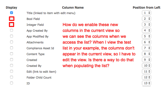 Need to set the columns to Display in their View.